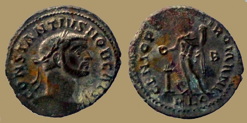 Ancient Coins - Constantius Chlorus - Silvered Follis - GENIO POPVLI ROMANI - Lyon mint