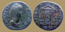 Ancient Coins - FAUSTINA Maior - AE Sestertius - AERTERNITAS - Temple - VERY RARE