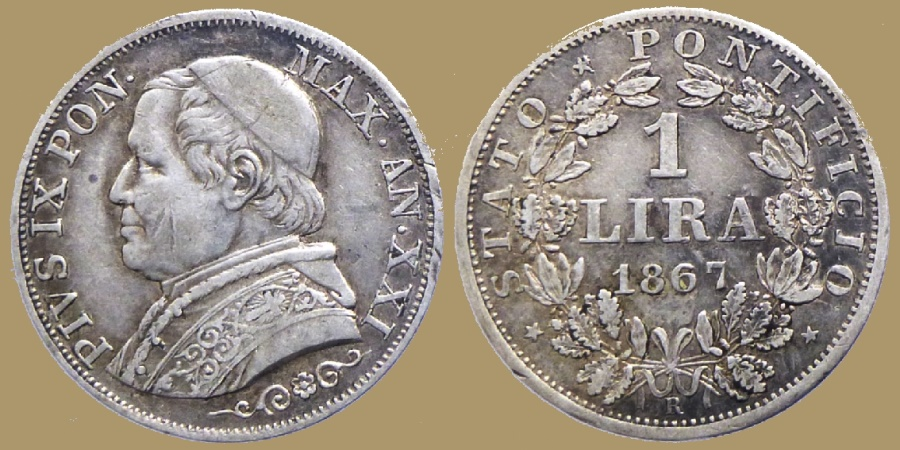 World Coins - Vatican - PIUS IX - 1 Lira 1867 - Year XXI