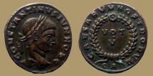 Ancient Coins - Constantinus II Caesar - AE reduced Follis - CAESARVM NOSTRORVM VOT V - Arles -  RIC.232