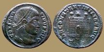 Constantine I - Ae reduced follis - DN CONSTANTINI MAX AVG - Campfate - Ticinum - scarce