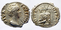 Ancient Coins - Diva Faustina  - Denarius - AETERNITAS - draped throne with peacock