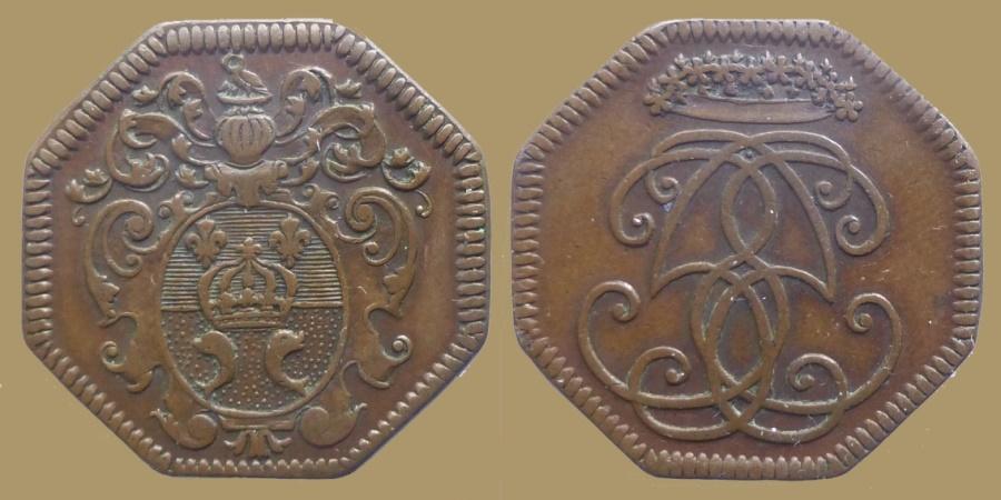 World Coins - FRANCE - Noblesse d'Ile de France - AE octogonal Jeton - Marie Madeleine Le Mercier , nurse of Louis XV