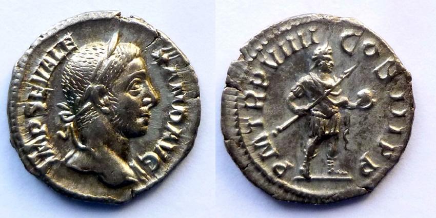 Ancient Coins - Alexander Severus - Denar - PM TRP VIIII COS III PP - Alexander right