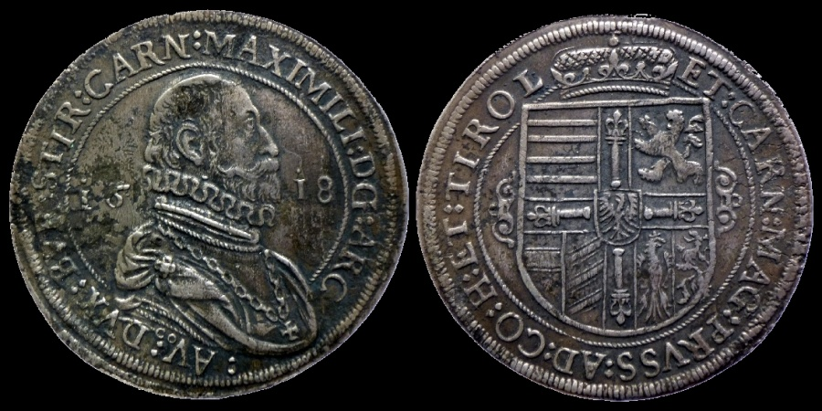 Ancient Coins - Austria - Archduke Maximilian - taler 1618 Hall mint