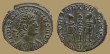 Ancient Coins - Constantius II as Augustus - AE reduced Follis - GLORIA EXERCITVS - Trier - RIC. VIII 82