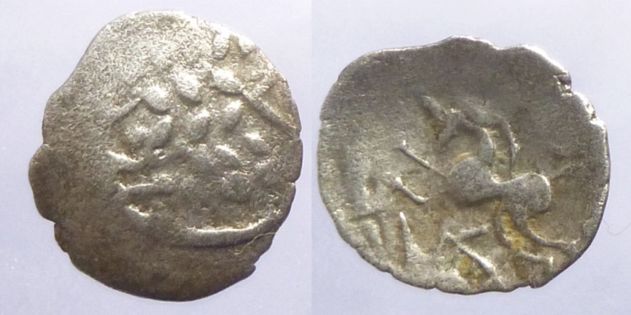 Ancient Coins - Aulerci Eburovices (Celtic Northern Gaul), ca. 50 to 40 BC. Silver Scyphate denarius