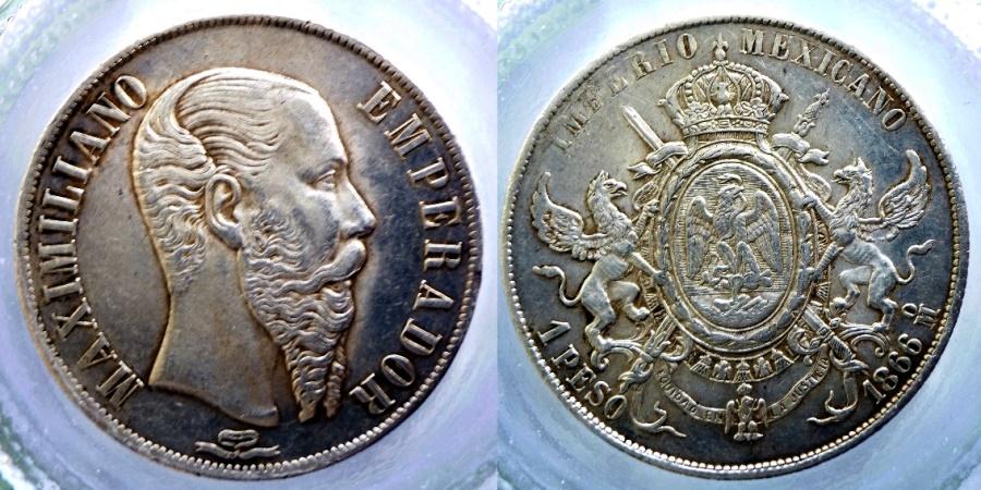 Ancient Coins - Mexico - Maximilian - 1 peso 1866 Mexico