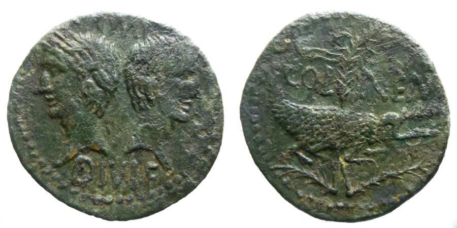 Ancient Coins - Augustus & Agrippa - Dupondius - Chained crocodile - Nemausus - nice