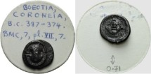 Ancient Coins - BOEOTIA - CORONEIA - OBOL - ex. BCD Collection! - with original collector`s ticket!