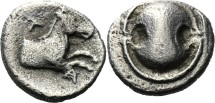 Ancient Coins - TANAGRA - OBOL - Boeotian shield - Horse