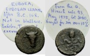 Ancient Coins - EUBOIAN LEAGUE - AE - head of bull - octopus - ex. BCD Collection! - with original collector`s ticket!