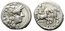 Ancient Coins - ROMAN REPUBLIC. CAECILIA-21. SILVER DENARIUS. 130 BC. ATTRACTIVE REVERSE.
