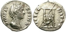 Ancient Coins - DIVA FAUSTINA. SILVER DENARIUS. 141  AD. EXCEPTIONAL VEILED PORTRAIT.