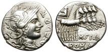 Ancient Coins - ROMAN REPUBLIC. CURTIA 2. 116-115 BC.  SILVER DENARIUS. NICE PORTRAIT.