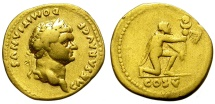 DOMITIAN AS CAESAR. GOLD AUREUS. VERY INTERESTING REVERSE.