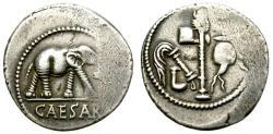 Ancient Coins - ROMAN IMPERATORIAL. JULIUS CAESAR. SILVER DENARIUS. ELEPHANT. EMBLEMATIC ISSUE.