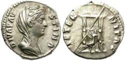 Ancient Coins - DIVA FAUSTINA. SILVER DENARIUS. 141  AD. EXCEPTIONAL VEILED PORTRAIT.