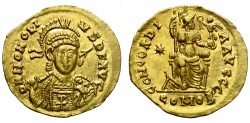 Ancient Coins - HONORIUS. VERY RARE GOLD SOLIDUS WITH CHRISTOGRAM.THESSALONICA MINT. EF + WITH PLENTY OF ITS ORIGINAL LUSTER