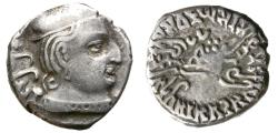 Ancient Coins - INDO-SKYTHIANS. BHADRAMUKHAS, RUDRASENA II. SILVER DRACHM. NICE PORTRAITURE