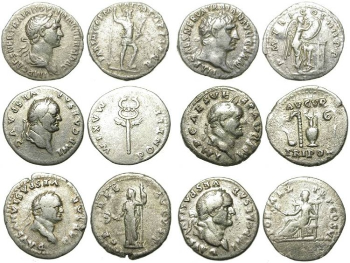 Ancient Coins - INTERESTING LOT OF 6 DIFFERENT ROMAN SILVER DENARII.