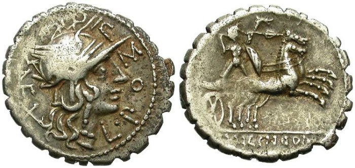 Ancient Coins - ROMAN REPUBLIC. SILVER DENARIUS. POMPONIA-7. SERRATUS BORDER