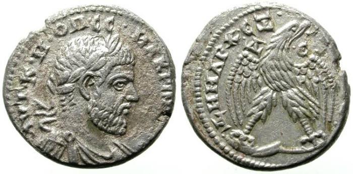 Ancient Coins - MACRINUS. BILLON TETRADRACHM. RARE AND ATTRACTIVE PIECE