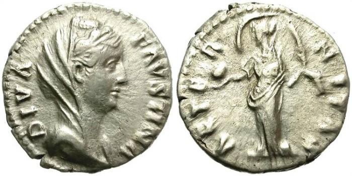 Ancient Coins - DIVA FAUSTINA SENIOR. SILDER DENARIUS. NICE VEILED PORTRAIT