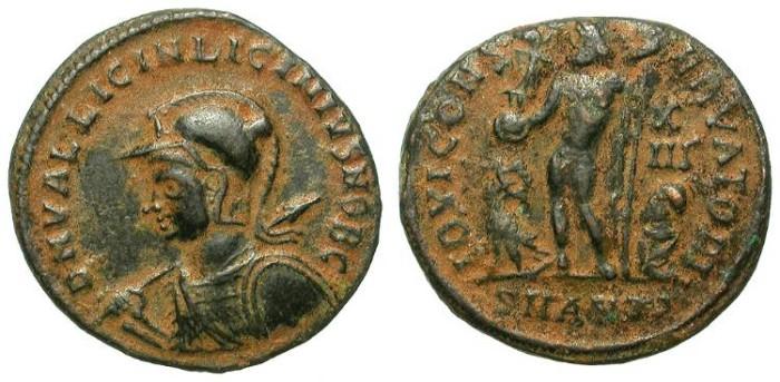 Ancient Coins - LICINIUS II. AE FOLLIS. IOVI CONSERVATOR. NICE BLACK DESSERT PATINA