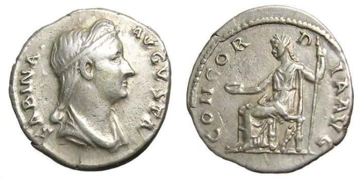 Ancient Coins - SABINA  DENARIUS.  SCARCE.