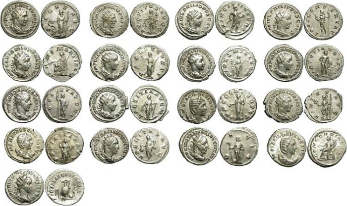Ancient Coins - LOT OF 17 SILVER ANTONINIAN.  GOOD MIXTURE.  NICE CONDITION/3