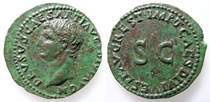 Ancient Coins - DRUSUS. AS. NICE VF. NICE PORTRAIT. RARE AND ATTRACTIVE ISSUE
