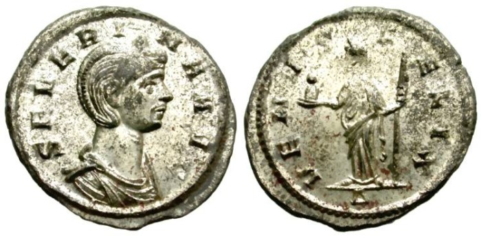 Ancient Coins - SEVERINA. AE DENARIUS.  MOST ORIGINAL SILVERING REMAINING. FANTASTIC CONDITION