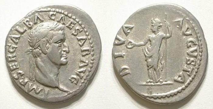 Ancient Coins - GALBA. DENAR. NICE VF. FANTASTIC PORTRAIT !
