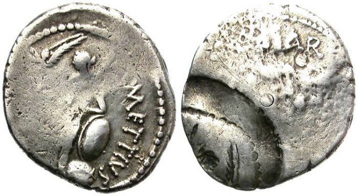 Ancient Coins - IULIUS CAESAR. SILVER DENARIUS. WEIRD REVERSE BROCKAGE. RARE !