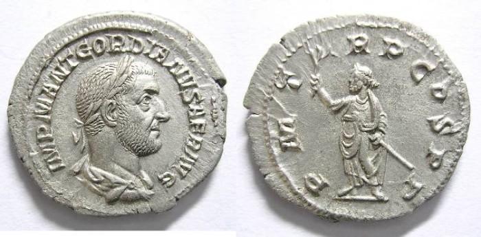 Ancient Coins - GORDIAN  I  AFRICANUS,  DENARIUS. R/  P.M.TR.P.COS.P.P.