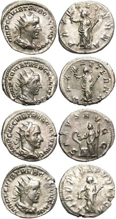 Ancient Coins - LOT OF FOUR TREBONIANUS. SILVER ANTONINIANUS. GOOD OPPORTUNITY.
