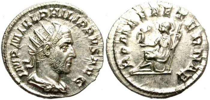 Ancient Coins - PHILIP I. SILVER  ANTONINIANUS.  GOOD QUALITY. NICE PORTRAIT.