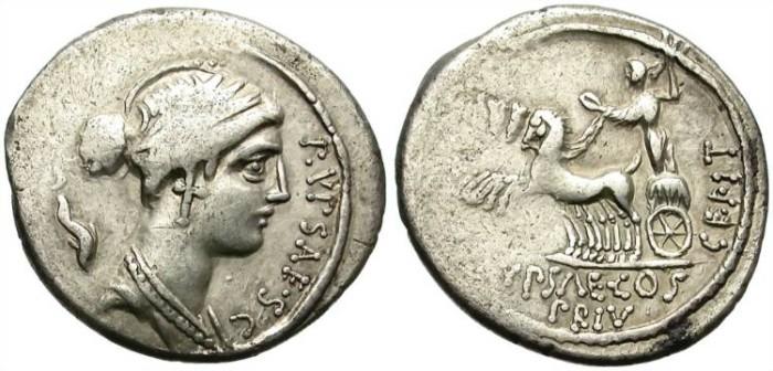 Ancient Coins - ROMAN REPUBLIC. PLAUTIA-12. 57 BC. SILVER DENARIUS. AFFORDABLE COIN.