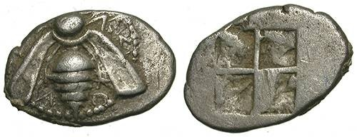 Ancient Coins - EPHESUS. ARCAIC ISSUE. VF. SO NICE IRREGULAR PIECE !