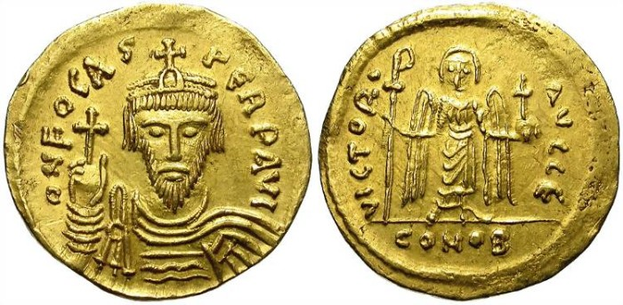 Ancient Coins - PHOCAS, BYZANCE. GOLD SOLIDUS. CONSTANTINOPOLIS. NICE ISSUE !