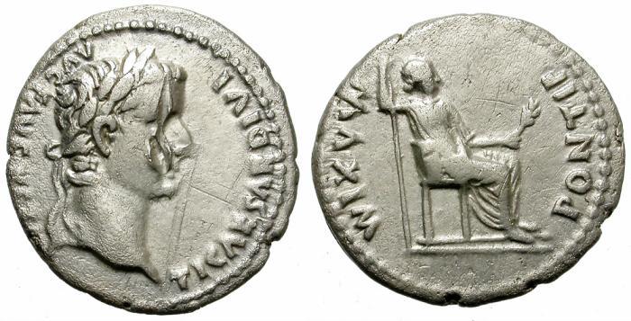 Ancient Coins - TIBERIUS. SILVER DENARIUS. TRIBUTE PENNY. ECONOMIC.