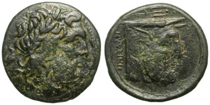 Ancient Coins - AKARNANIA. BRONZE ISSUE. VERY INTERESTING PIECE