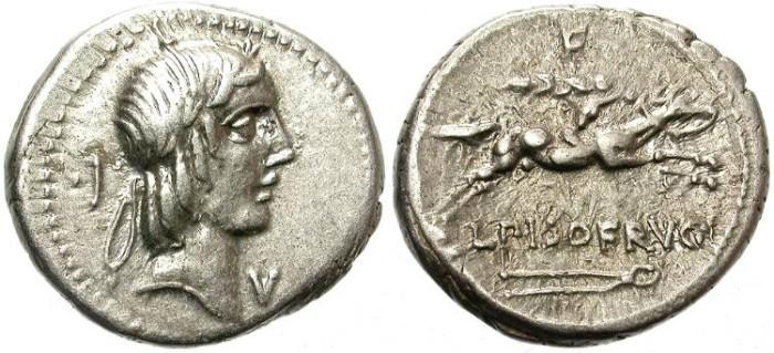 Ancient Coins - ROMAN  REPUBLIC. CALPURNIA.  SILVER  DENARIUS. BEAUTIFUL AND CENTERED COIN.