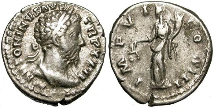 Ancient Coins - MARC AUREL. SILVER DENARIUS. DRAPPED BUST