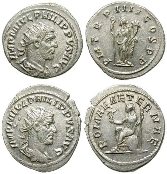 Ancient Coins - PHILIP I. LOT OF 2 ROMAN SILVER ANTONINIANUS.
