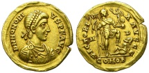 Ancient Coins - HONORIUS. SOLIDUS. 395 - 402 A.D. MEDIOLANUM (MILANO). BEAUTIFUL.