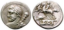 Ancient Coins - ROMAN REPUBLIC. T.I. QUINCTIUS. DENARIUS. 112-111 BC. HERCULES ON OBV: AND DIOSCOURI ON REV. MOUSE.