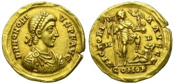 Ancient Coins - HONORIUS. SOLIDUS. 395 - 402 A.D. MEDIOLANUM (MILANO). BEAUTIFUL.