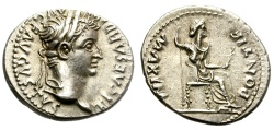 Ancient Coins - TIBERIUS. SILVER DENARIUS. TRIBUTE PENNY. EXCELLENT CONDITION. BEAUTIFUL PORTRAIT